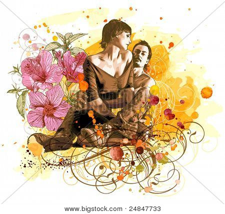 Two lovers on grunge background, tropical flowers & vintage floral ornament Bitmap copy my vector ID 14447125