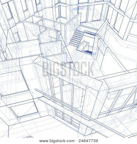 3d blueprint house: technical draw. Bitmap copy my vector ID 17455741