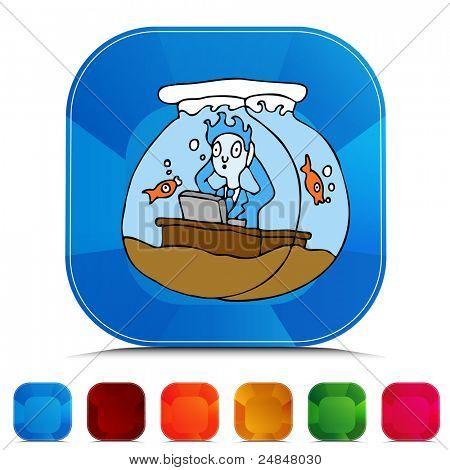Establece una imagen de un botón de piedras preciosas de trabajar en una pecera.