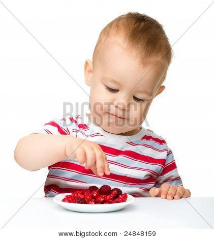 Cute Little Boy With Strawberries