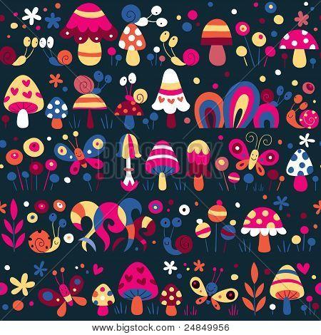 mushrooms snails butterflies cute pattern
