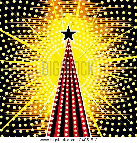 Vector Christmas tree with yellow background