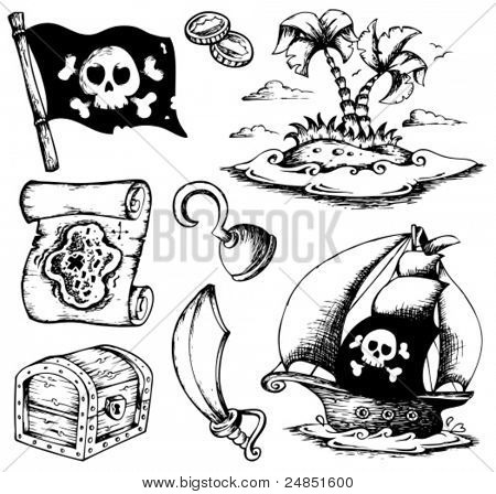Drawings with pirate theme 1 - vector illustration.