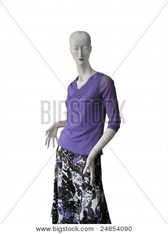 Mannequin In Lilac Top And Floral Skirt