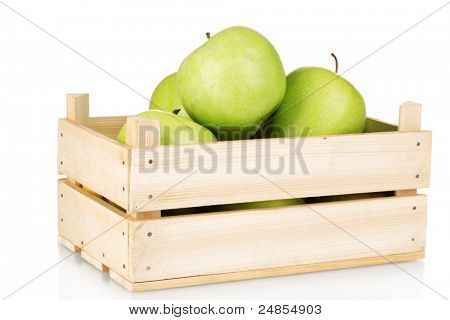juicy green apples in a wooden crate isolated on white