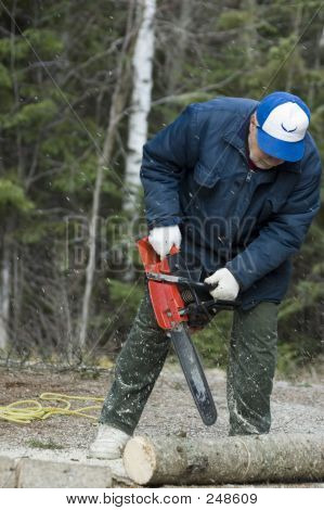 Baby boomer with Chain Saw