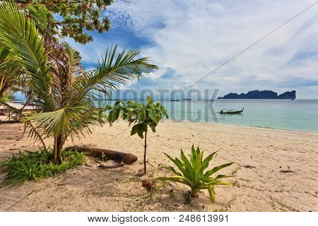 Beautiful Tropical Beach With Sea View Clean Water Blue Sky Nature Background Poster