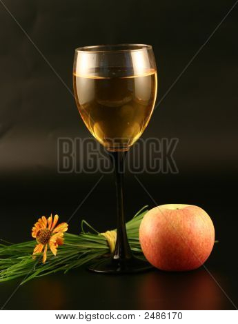 Glass Of Wine, Apple And Grass