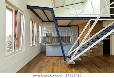modern designer, apartment with mezzanine