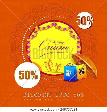 Vector Illustration Of Happy Onam Big Shopping Sale Advertisement Background For Festival South I Poster