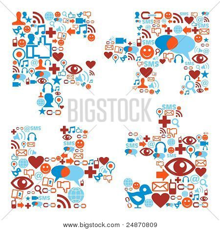 Jigsaw Piece Shape With Media Icons Texture