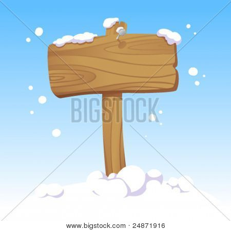Wooden board against of a winter landscape. Christmas illustration.