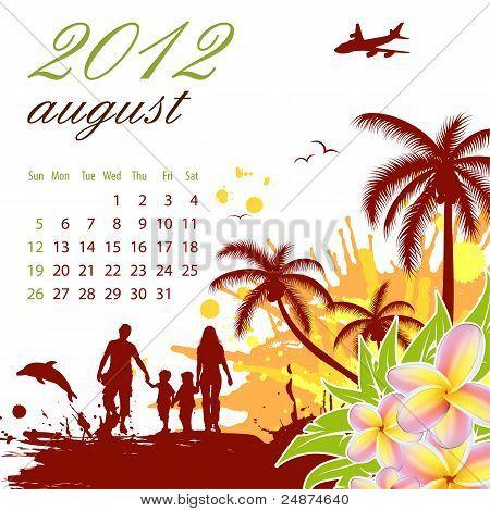 Calendar For 2012 August
