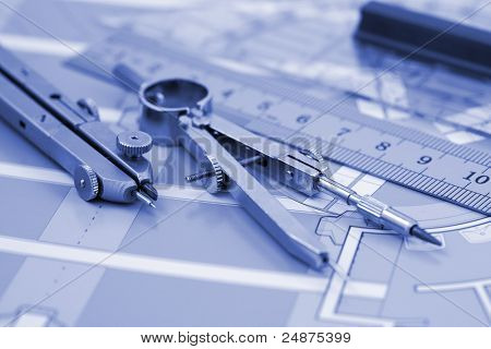 Architecture plan of interior & work tools - ruler, compass