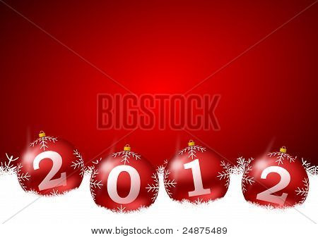 red new year illustration with christmas balls