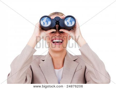 Joyful businesswoman predicting future success through binoculars isolated on a white background