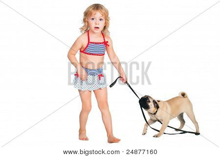 Cute Curly Girl Walking With A Dog