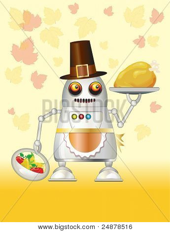 A robot dressed for Thanksgiving and serving turkey dinner, fruit and vegetables. Also available in vector format. Space for your text.
