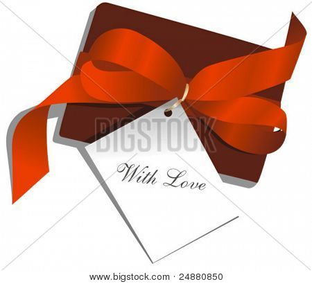 "Present,red ribbon,card, St. Valentine, ""With Love"". Vector Illustration"