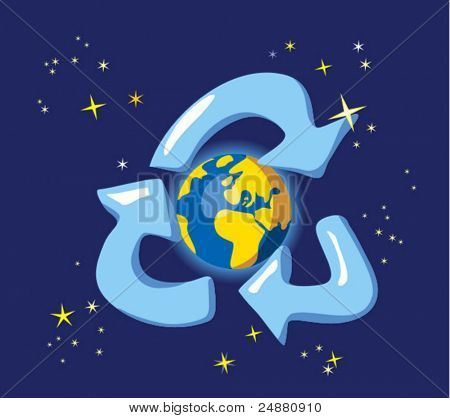 Keep the Earth - recycle. Allegory with globe and space Ecology concept. Naive style vector illustration