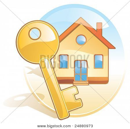 Key, new home, realty. Stylized aqua style vector icon