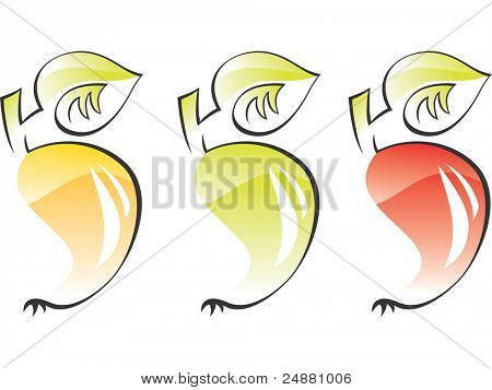 Apples - stylized, artistic vector illustration. Aqua style