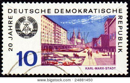 German City Karl-marx-stadt On Post Stamp