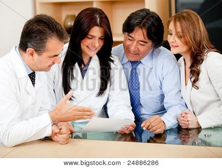 Group of business people in meeting with doctors offering medical insurance