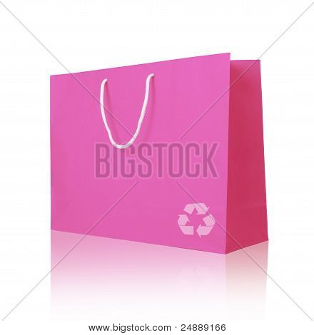 Pink Recycle Paper Shopping Bag