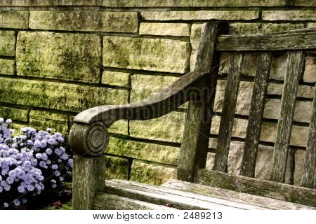 Wooden Bench With Flowers