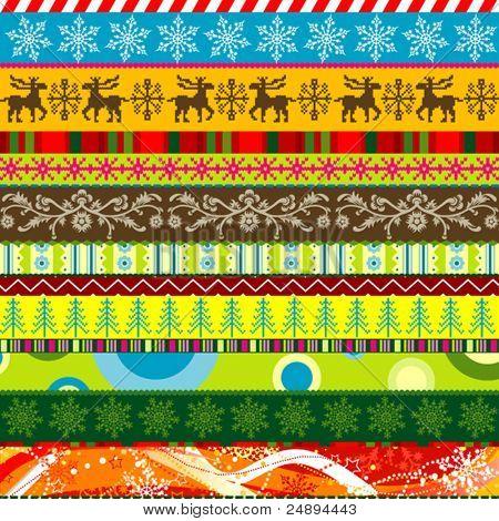 Scrapbook christmas patterns for design, vector illustration