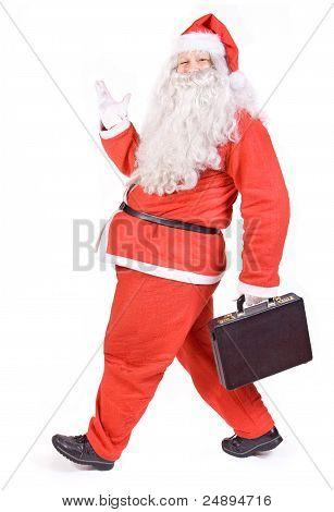 Santa Claus with suitcase