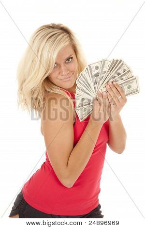 Woman Red Top Fan Money