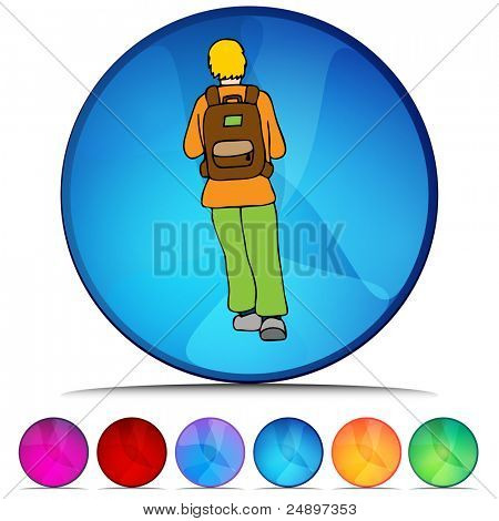 An image of a Student Wearing Backpack shiny button set.