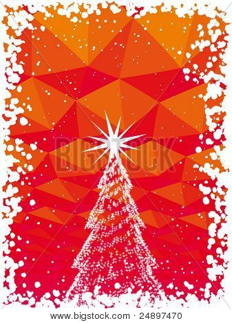 Vector abstract Christmas tree with shine red background