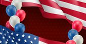 Usa Country Patriotic Banner Template. Realistic Waving American Flag And Colorful Air Balloons. Ind poster