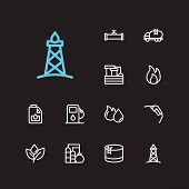 Gas Icons Set. Oil Fossil And Gas Icons With Oil Water Factory, Oil Gas Plant And Engine Oil. Set Of poster