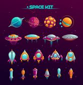 Cartoon Space War Concept. Alien Planets, Ufos, Rockets And Missiles Objects In The Kit. Fantasy Cos poster