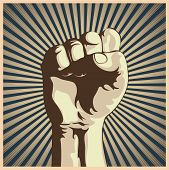 image of revolt  - illustration in retro style of a clenched fist held high in protest - JPG