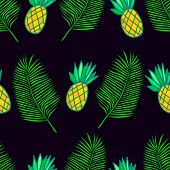 Tropical Leaf Palm And  Ananas Seamless Pattern Background. Decorative Exotic Plant  Fruit, Black Ba poster