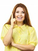 Portrait Of Young Funny Teenager Woman Having Happy Thinking Wondering Face Expression Having An Gre poster