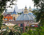 Close Up View Of Domes Of Twin Churches At Piazza Delo Popolo In Rome, Italy poster