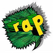 Rap - Comic Book Word On Abstract Background. poster