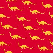 Dinosaur Brachiosaurus Silhouette Pattern Seamless.  Illustration. Orange Dinosaurs On Red Backgroun poster