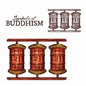 Buddhism Religion Symbol Of Tibetan Buddhist Prayer Wheel Sketch. Red Wooden Cylinder With Mantras A poster