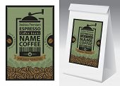 Paper Packaging With Label For Coffee Beans In Retro Style. Vector Label For Coffee With Coffee Grin poster
