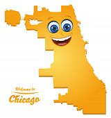 Chicago Illinois City Map With Smiling Face Illustration poster