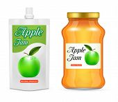 Apple Jam Packaging Mockup Set. Vector Realistic Illustration Of Glass Jar And Doypack Plastic Bag W poster