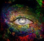 Surrealism. Womans eye with galaxies. 3D rendering poster