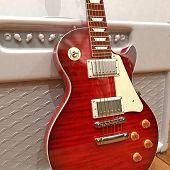 Постер, плакат: Красный электрическая гитара